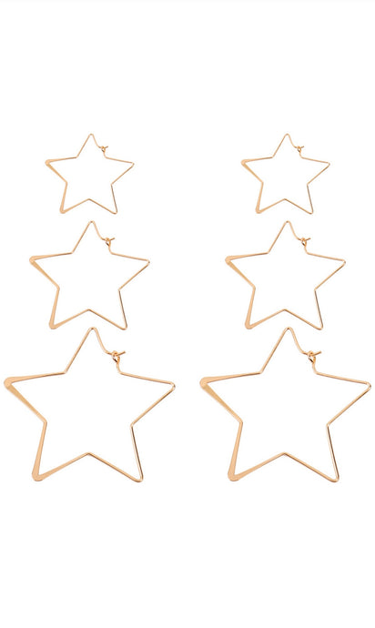 3 pairs of  golden wire hammered star hoop earrings