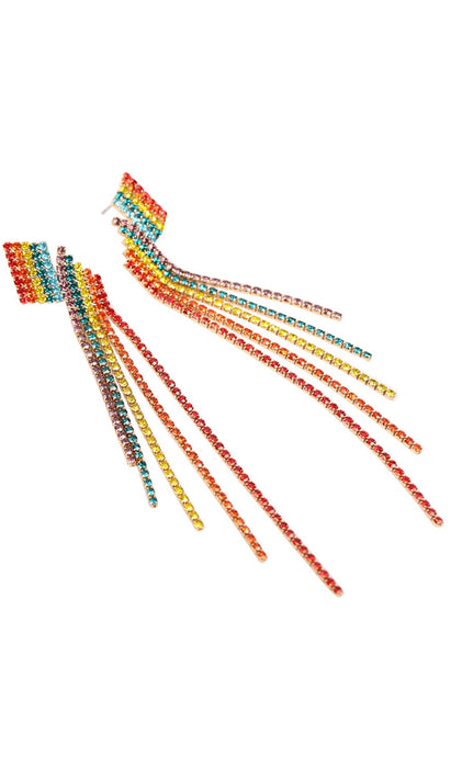 Multi color rhinestone layered tassel earrings