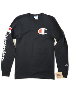 black long sleeve tee with chest logo and arm spell out