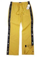 Load image into Gallery viewer, Yellow with black stripe button side drawstring windbreaker pants