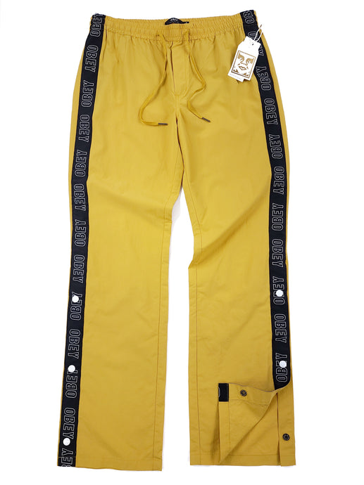 Yellow with black stripe button side drawstring windbreaker pants
