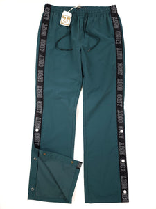 Hunter green with black stripe button side drawstring windbreaker pants