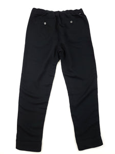 back of black elastic waist loose fit pants with button back pockets