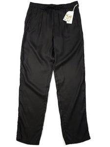 Black elastic waist loose fit pants with drawstring