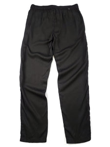 back of black elastic waist loose fit pants with drawstring