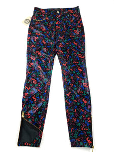Black with multi color spots faux leather zip bottom skinny pants
