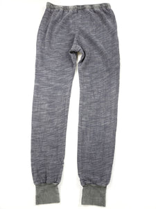 back of gray jogger pants with cuff leg and drawstring
