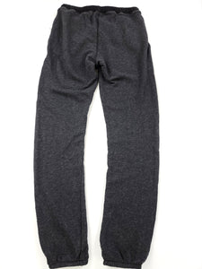 back of charcoal elastic waist sweat pants with drawstring