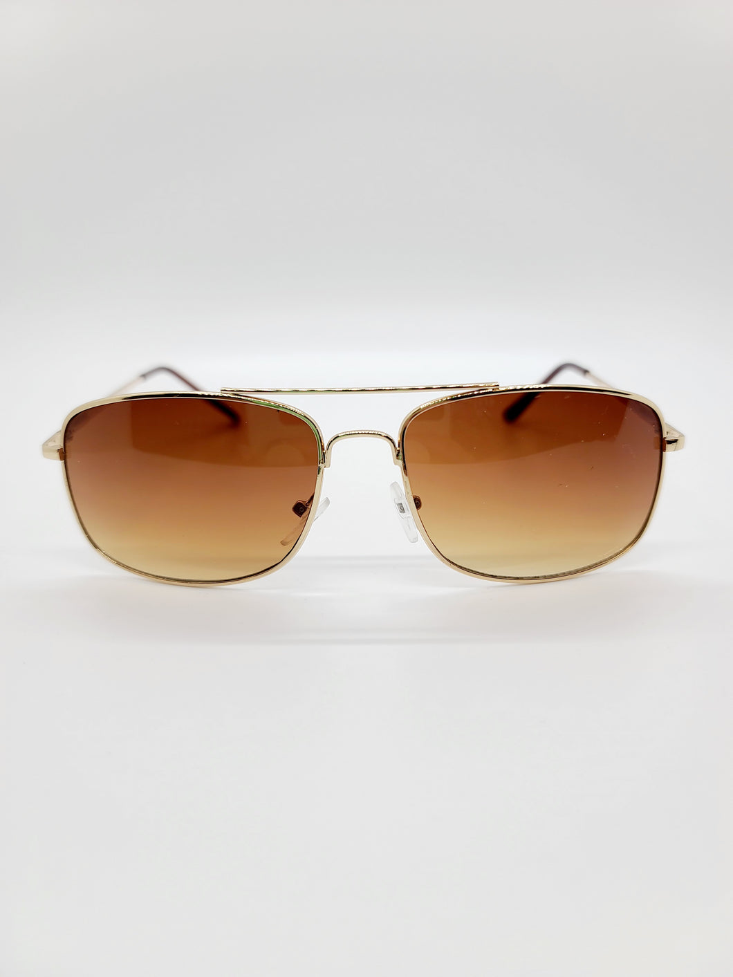 brown ombre lens wire frame sunglasses