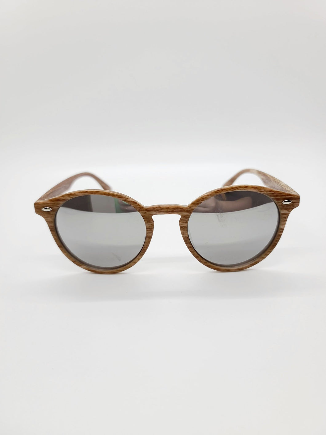 brown wood print plastic frame silver reflective lens sunglasses
