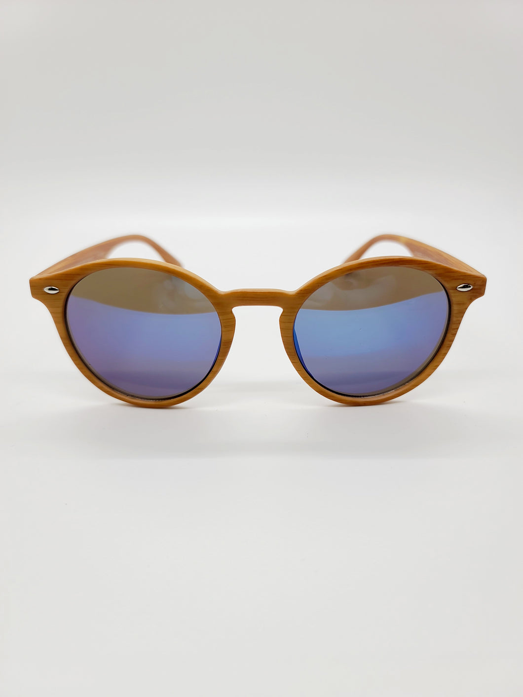 brown wood print plastic frame blue lens sunglasses