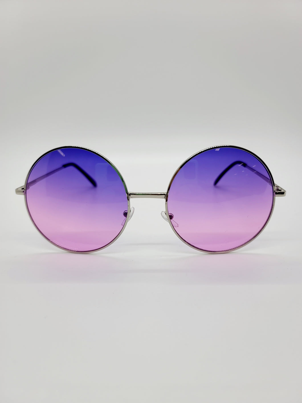 purple and pink ombre lens large circular frame sunglasses