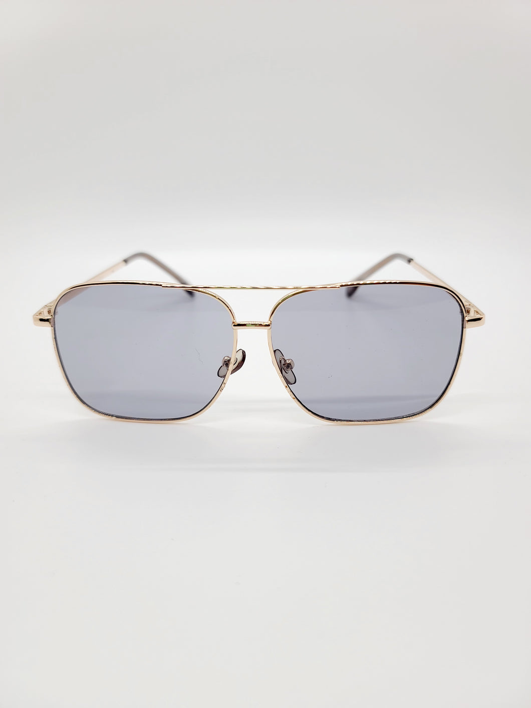 gray square golden wire frame aviator style sunglasses