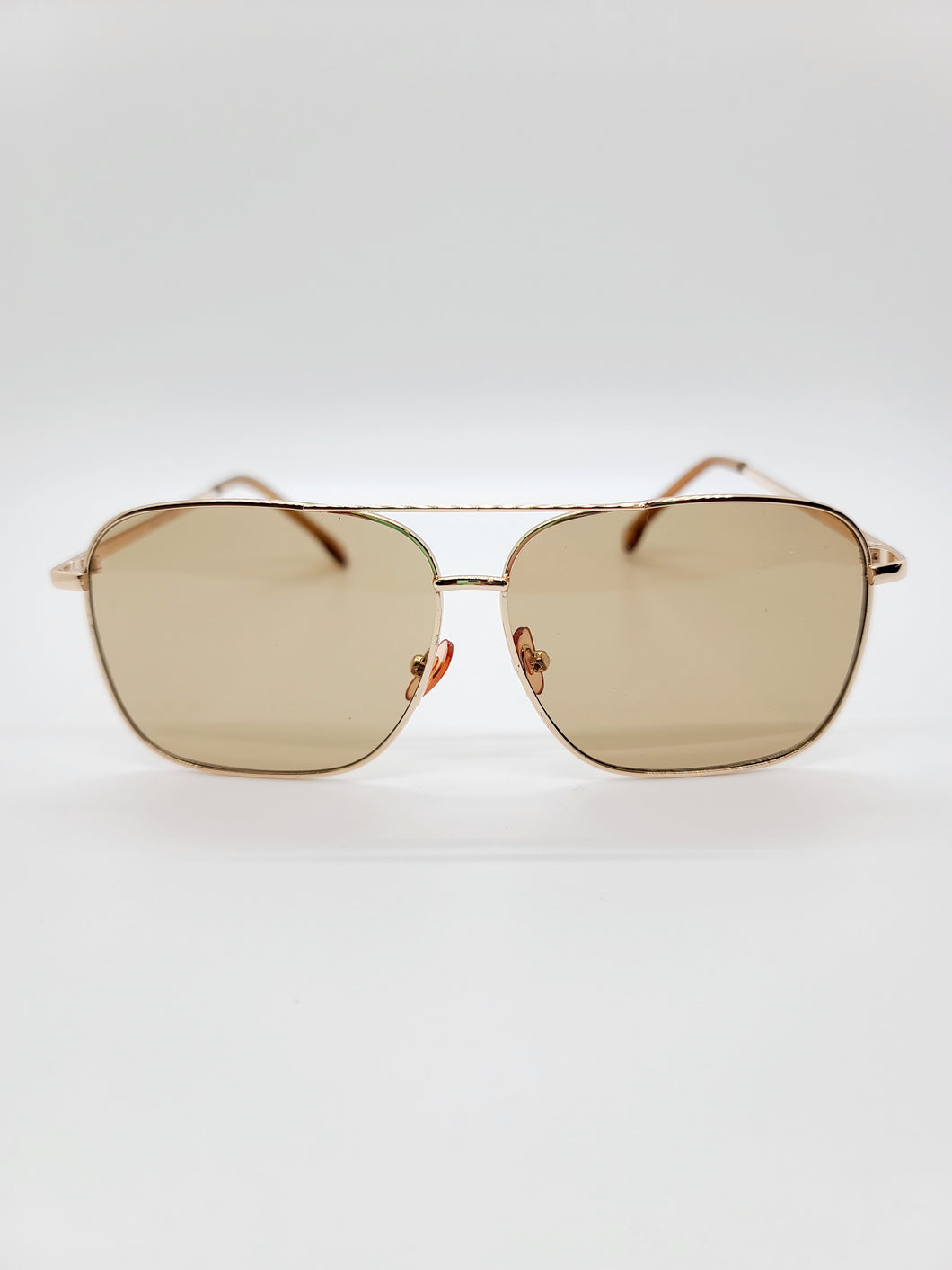 light brown square golden wire frame aviator style sunglasses