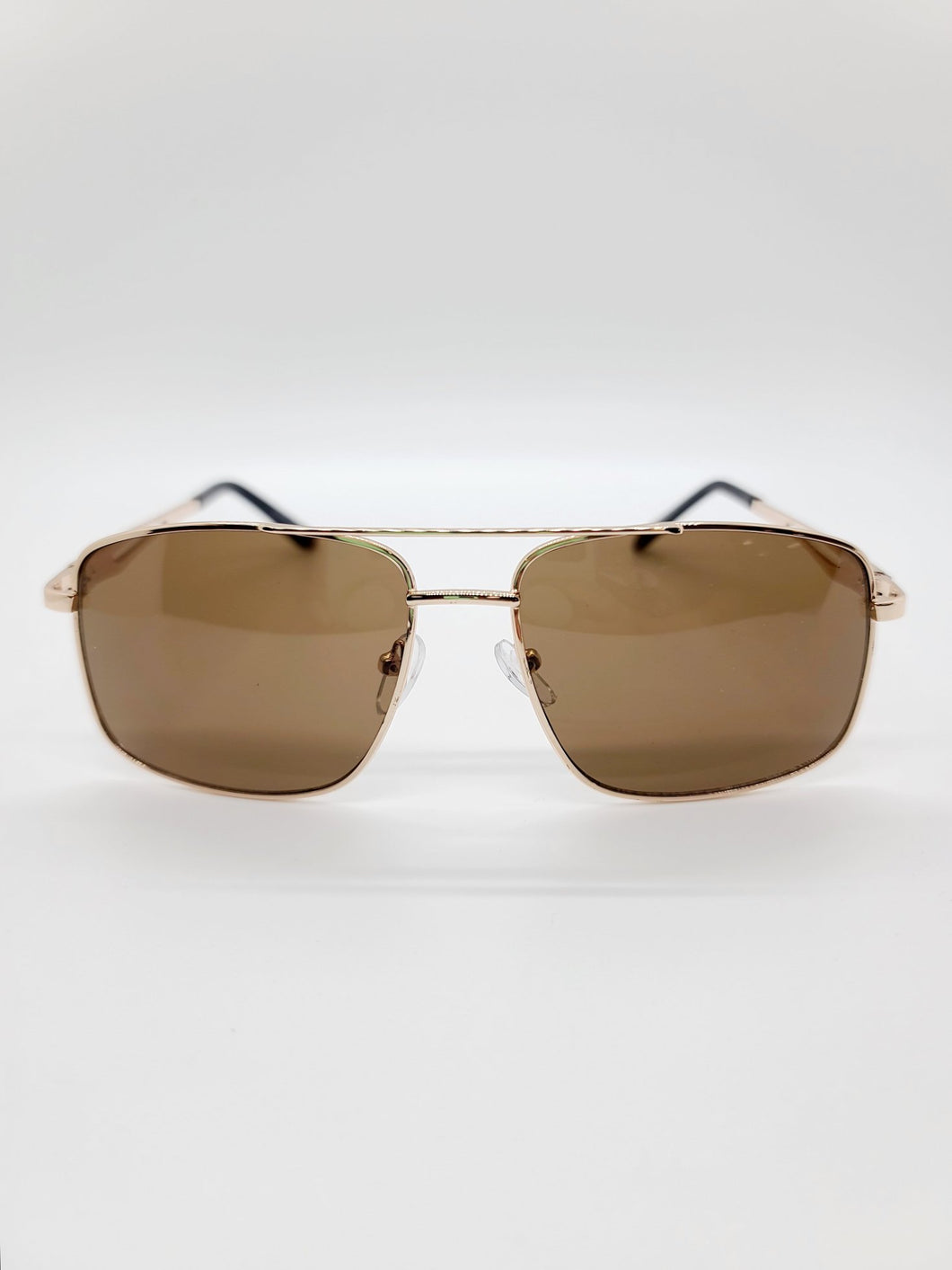 brown lens square golden wire frame aviator style sunglasses