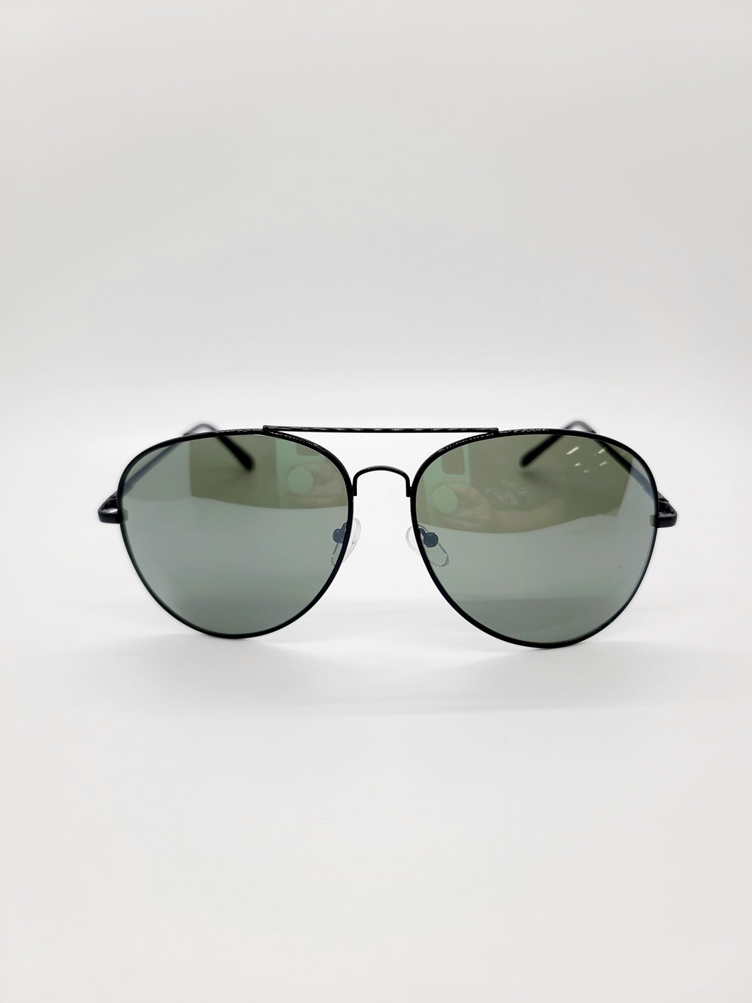 black lens wire frame large aviator style sunglasses