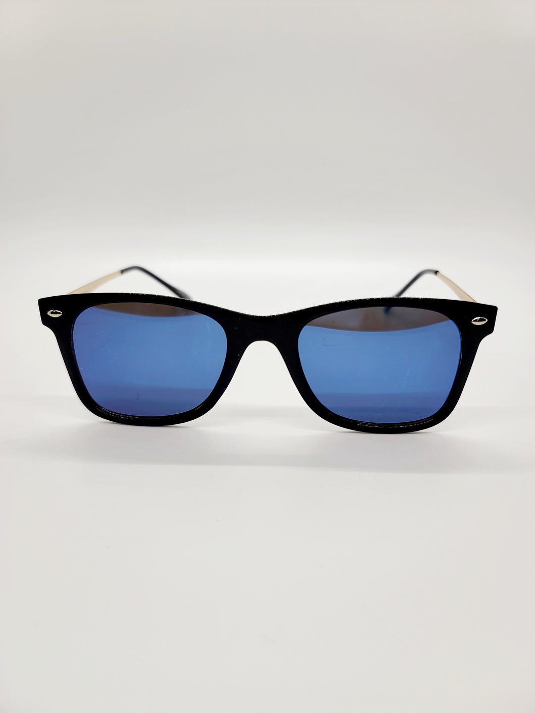 blue and purple reflective lens black frame wire arm sunglasses
