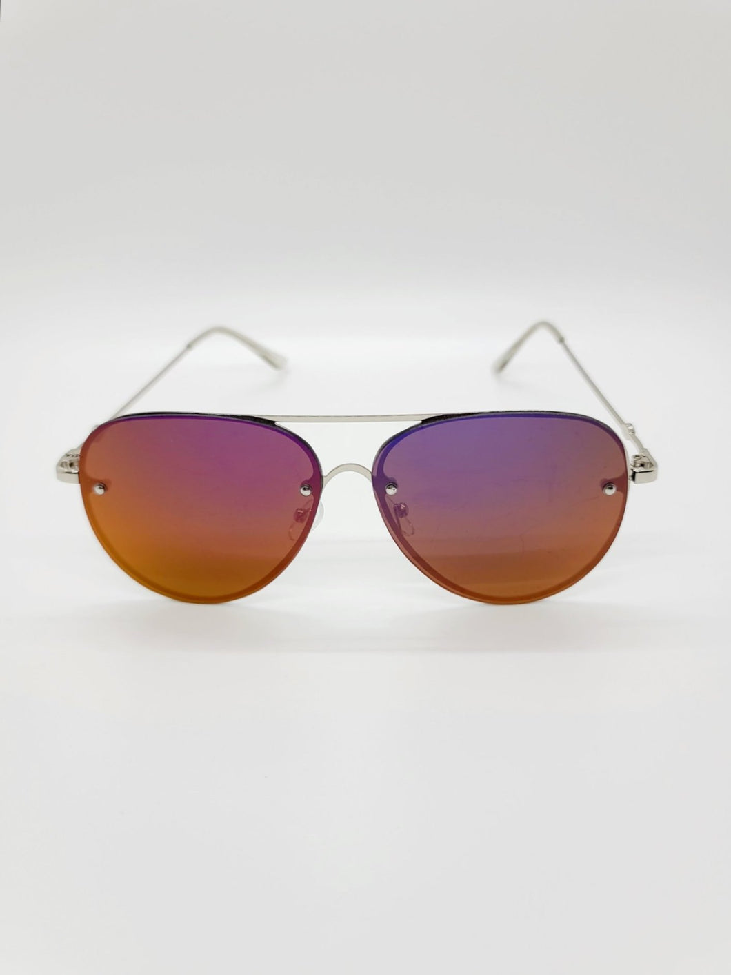 purple and yellow reflective frameless aviator style wire arm sunglasses