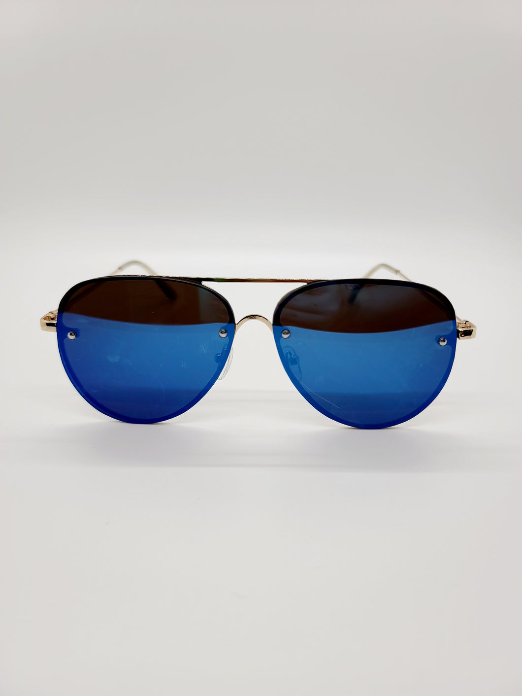 blue reflective frameless aviator style wire arm sunglasses