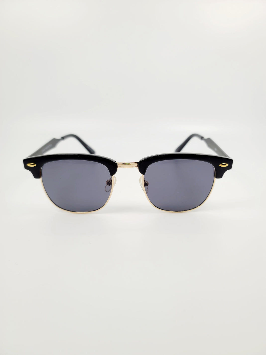 black top frame detail gray lens sunglasses