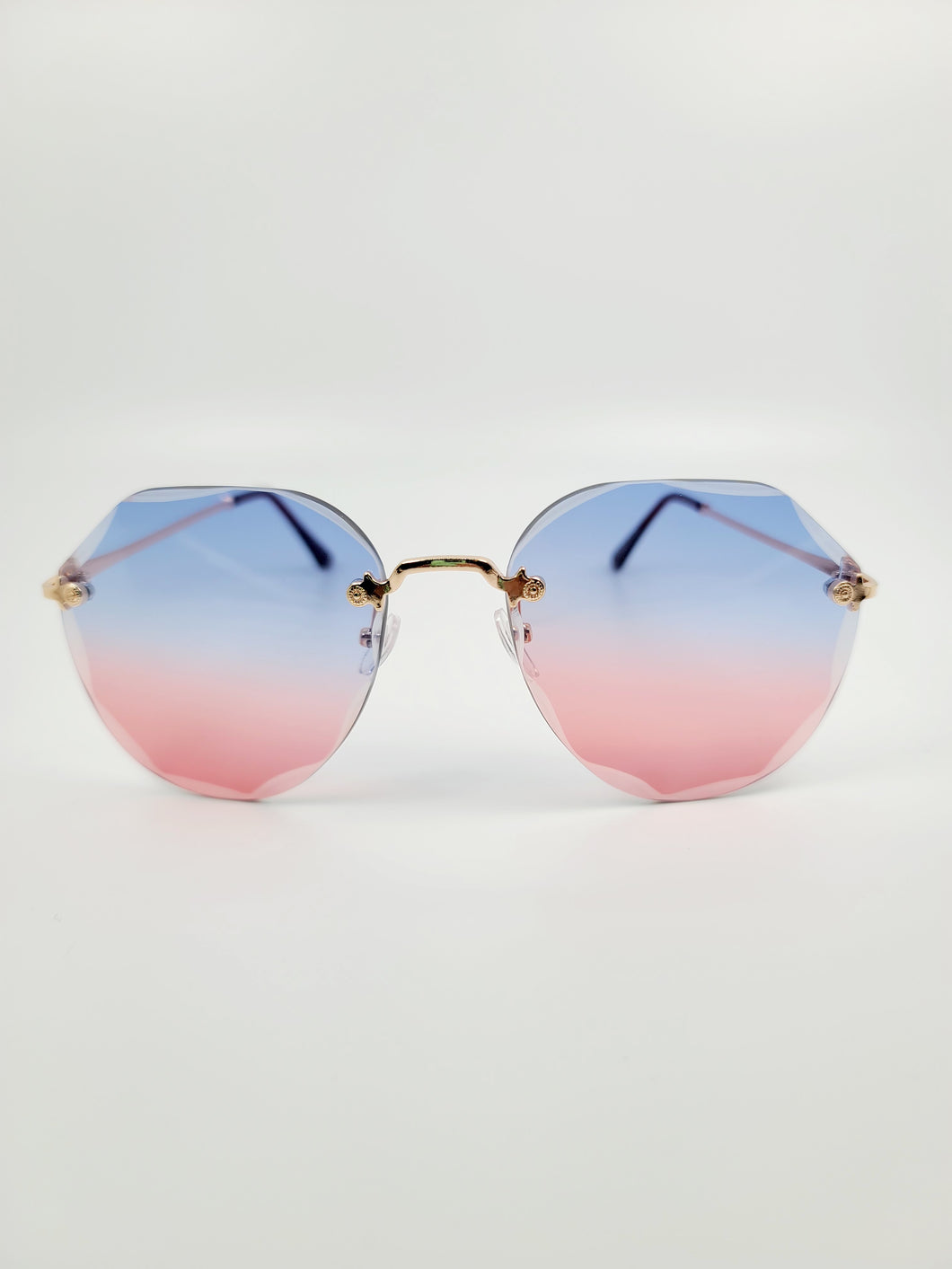 blue and red ombre beveled edge frameless sunglasses