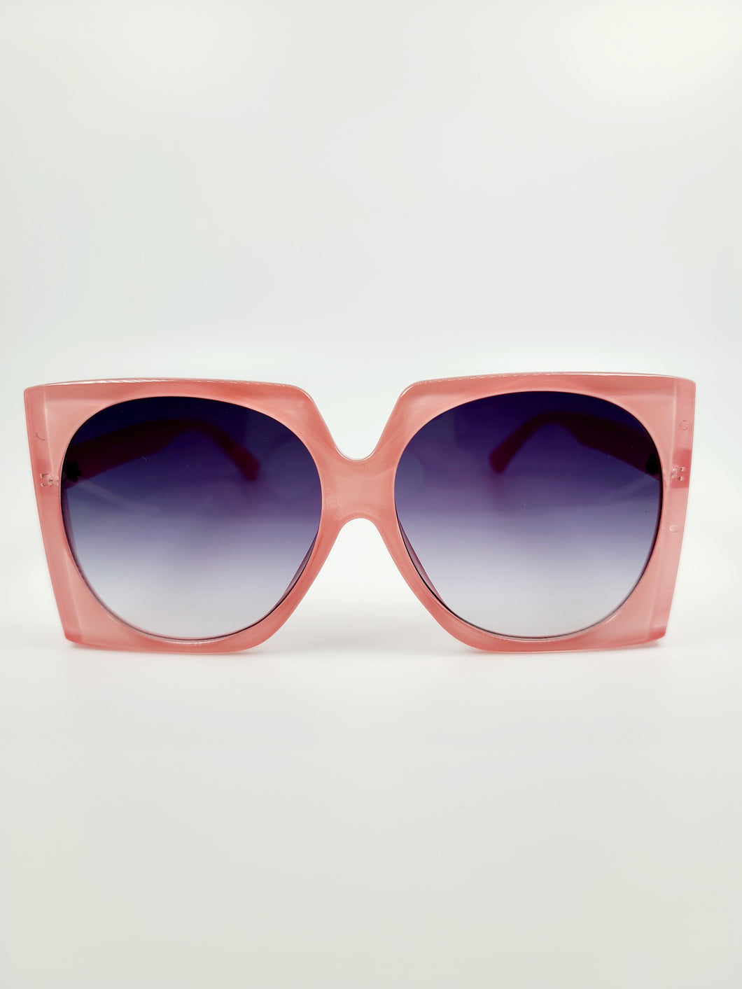 pink chunky square frame purple gray lens sunglasses