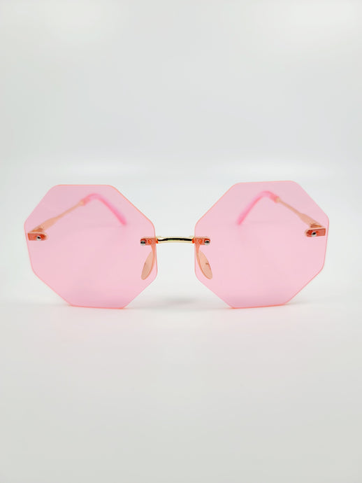 pink octagonal frameless wire sunglasses