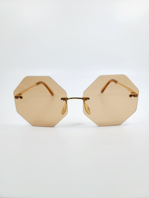 brown octagonal frameless wire sunglasses