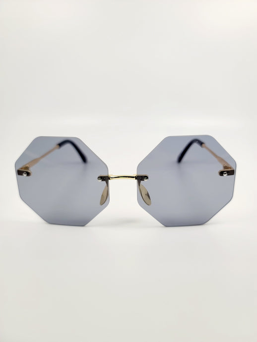 gray octagonal frameless wire sunglasses