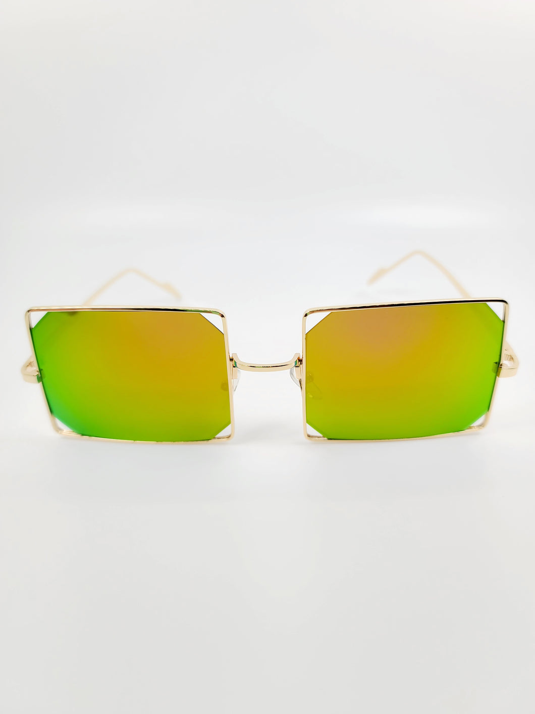 yellow and blue square reflective wire edge detail sunglasses
