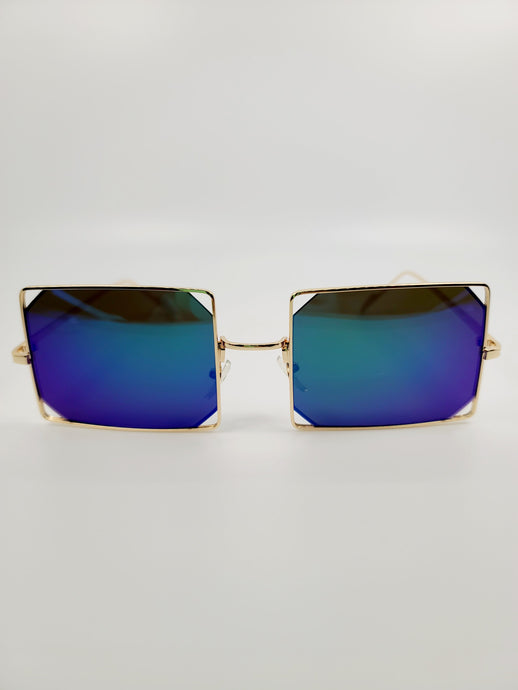 blue and green square reflective wire edge detail sunglasses