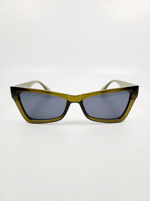 olive cat eye gray lens sunglasses