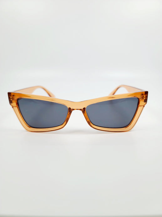 clear amber cat eye gray lens sunglasses