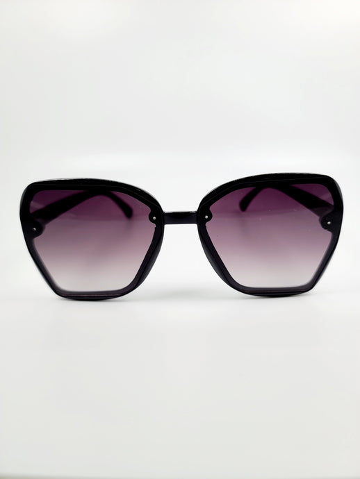 black large frame purple gray lens sunglasses