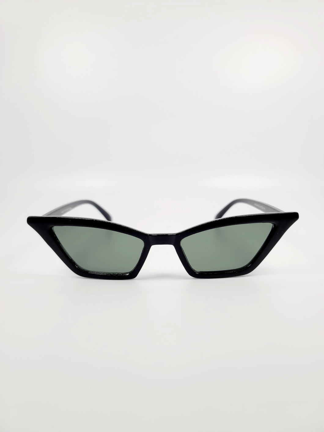 black cat eye gray lens small sunglasses