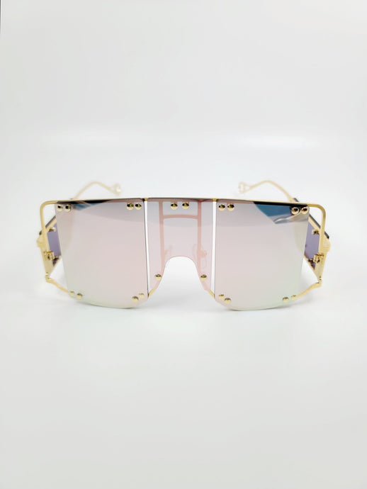 light pink reflective segmented lens wire frame sunglasses