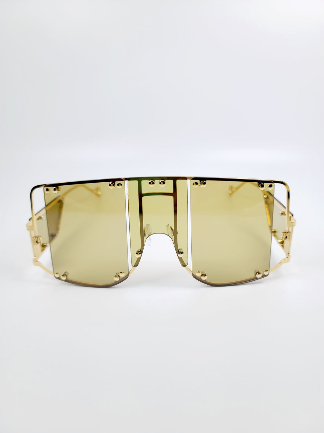 olive segmented lens wire frame sunglasses