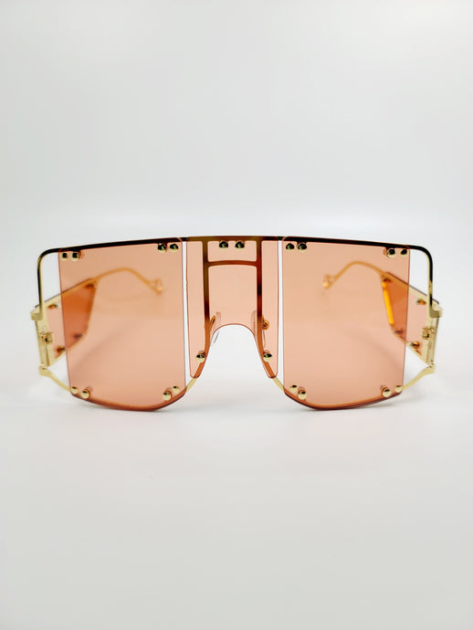 coral segmented lens wire frame sunglasses