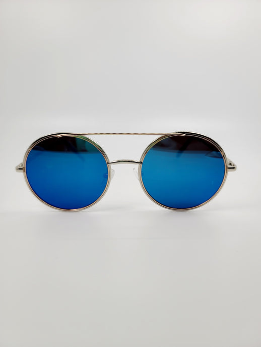 blue round lens cross bar wire sunglasses