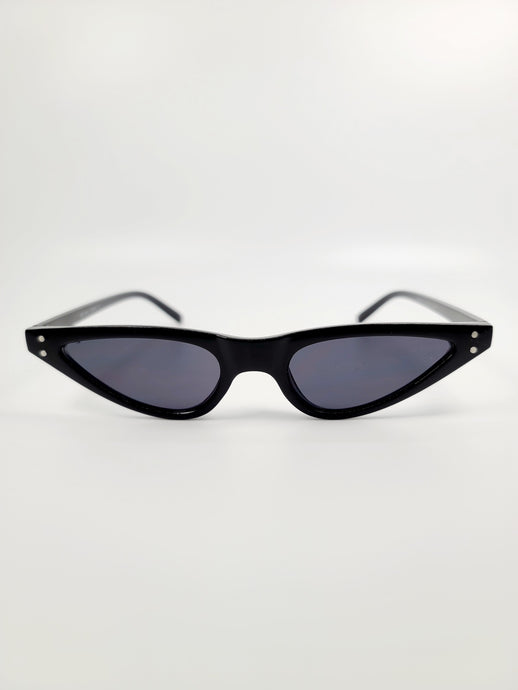 black thin cat eye frame gray lens sunglasses