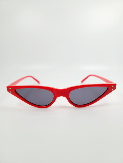 red thin cat eye frame gray lens sunglasses