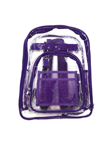 clear with purple trim stadium backpack