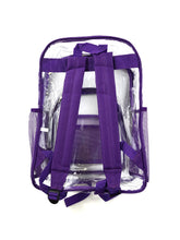 Load image into Gallery viewer, back of clear with purple trim stadium backpack