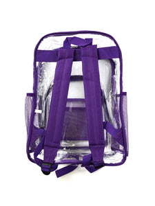 back of clear with purple trim stadium backpack