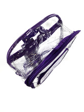 Load image into Gallery viewer, top front of clear with purple trim stadium backpack