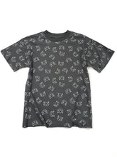 Load image into Gallery viewer, gray cat graphic short sleeve top slightly cropped raw edge
