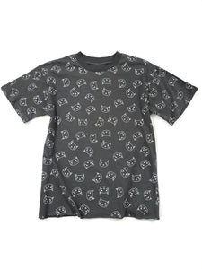 gray cat graphic short sleeve top slightly cropped raw edge