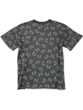 Load image into Gallery viewer, back of gray cat graphic short sleeve top slightly cropped raw edge
