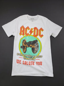 white AC/DC short sleeve band tee