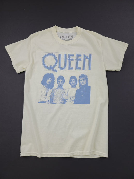 pale yellow Queen short sleeve band tee